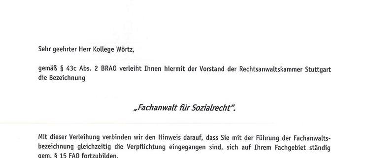 Kanzlei Wörtz –Urkunde – Fachanwalt für Sozialrecht